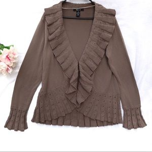 Style & Co. - tawny brown ruffle knit cardigan